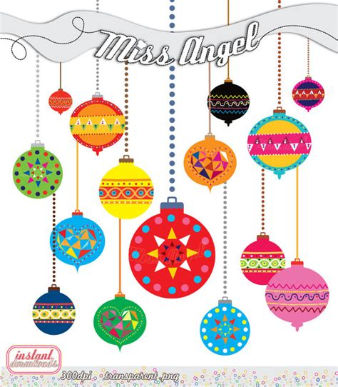 christmas balls clip art geometric decor christmas tree