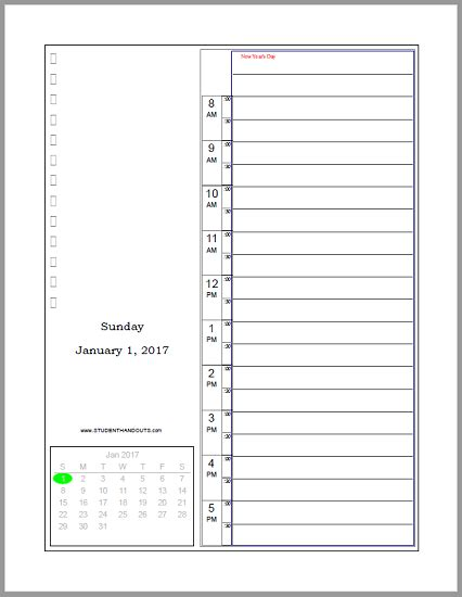 printable daily calendar january 2018 free printable daily planner 2018