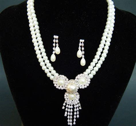 Set Faux Pearl Earring Necklace bridal fashion jewelry necklace earring set
