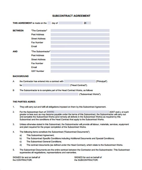 free subcontractor agreement template subcontractor contract template 10 documents