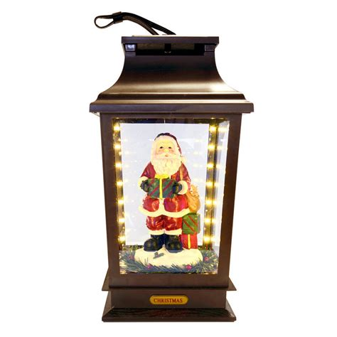 musical light up led christmas lantern with santa figure