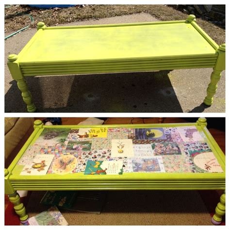 Decoupage Glass Table Top - took our coffee table and decoupaged the top with