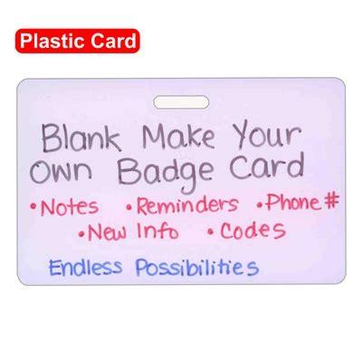 Blank Plastic Make Your Own Horizontal Badge Card
