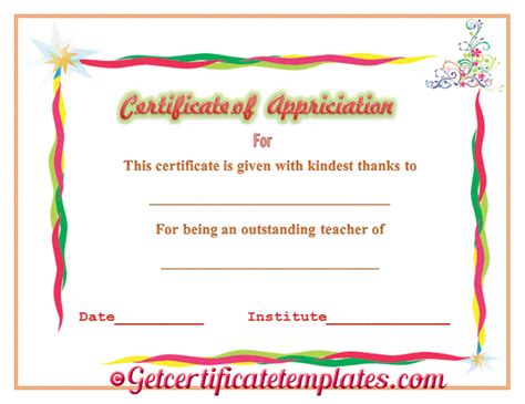 certificate of appreciation for teachers template certificate of appreciation for outstanding teaching