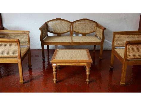 Teak Wood and Cane Sofa Set with Table  Teak Furniture