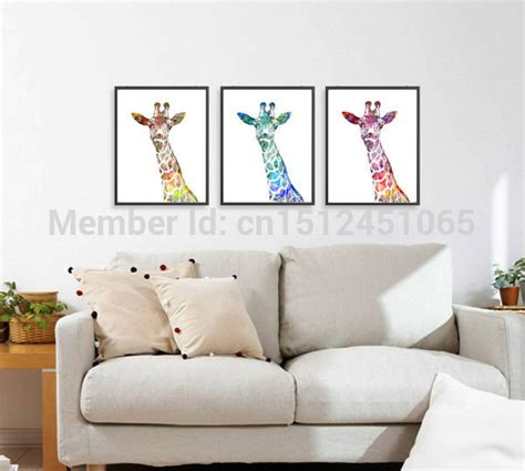 aliexpress home decor modern abstract watercolor giraffe art print set kids wall