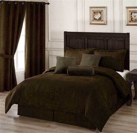 7 pc chocolate brown microsuede comforter set king size