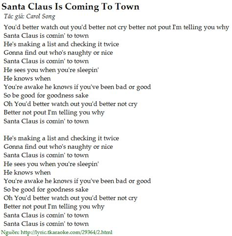 printable lyrics to santa claus is coming to town lời b 224 i h 225 t santa claus is coming to town carol song c 243