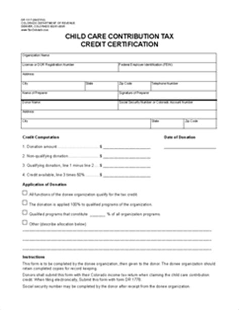 Child Tax Credit Application Form Number Form Dr 1317 Child Care Contribution Tax Credit Certification