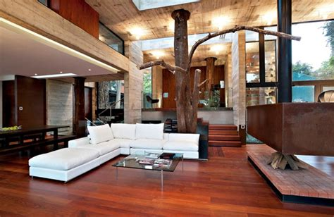 tree living room modern home decor with wood wall ideas