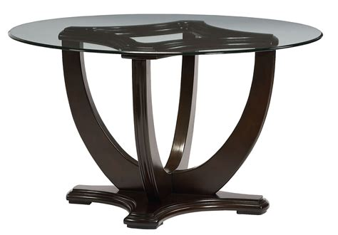 Glass Top Pedestal Dining Table Mulholland Boulevard Brown Rnd Glass Top Pedestal Dining Table From Standard 10021054