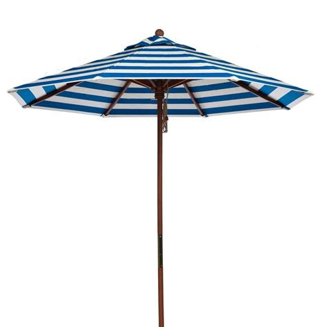 9 ft blue and white stripe market umbrella with wood pole