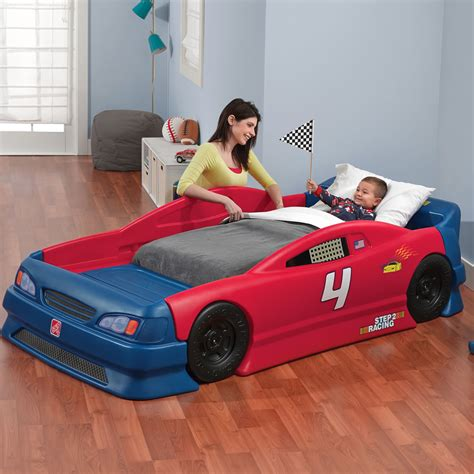car cing bed stock car convertible bed kids bed step2