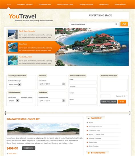 5 of the best travel joomla templates down