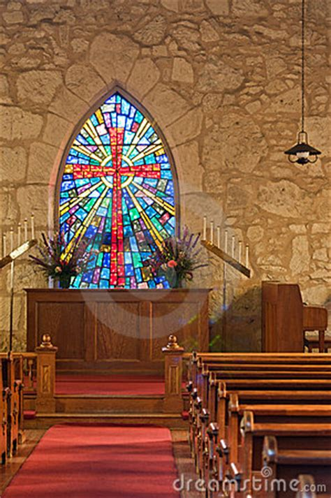 church interior  stained glass window royalty  stock  image