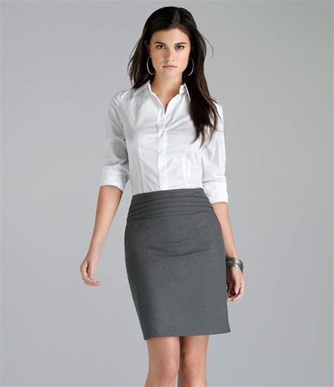 gray pencil skirt and white blouse working