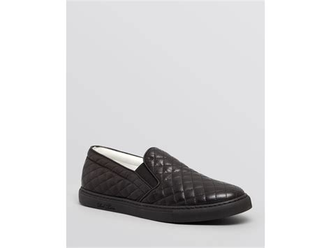 Leather Quilted Slip On Sneakers by Toro Quilted Nappa Leather Slip On Sneakers In Black