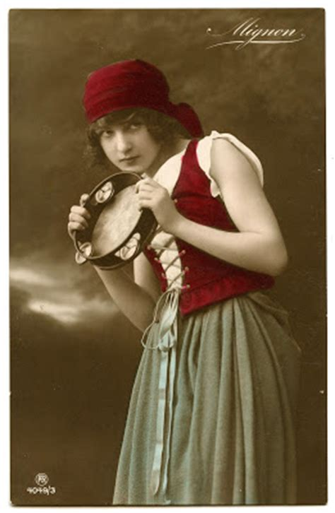 vintage image lovely gypsy  tambourine