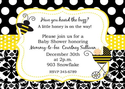 Bee Baby Shower Invitations by Bumble Bee Baby Shower Invitations Digital Or By Noteablechic