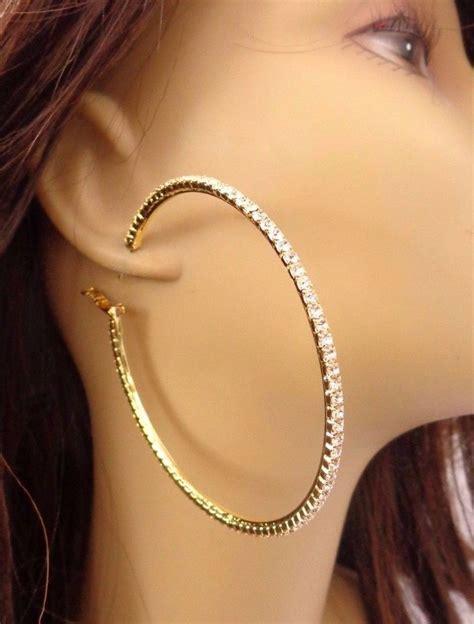 Rhinestone Hoop Earrings rhinestone hoop earrings thin hoop earrings gold tone