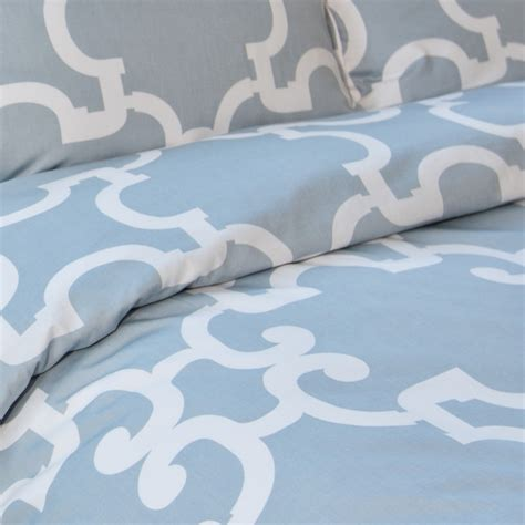 Blue Quilt Cover Geometric Print Duvet Cover The Noe Dusk Blue Modern