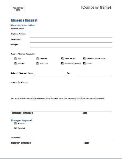 Request Forms Templates by Employee Absence Request Form Template For Word Document Hub