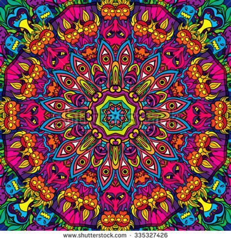 hippie vector pattern 60s hippie psychedelic art seamless pattern immagine