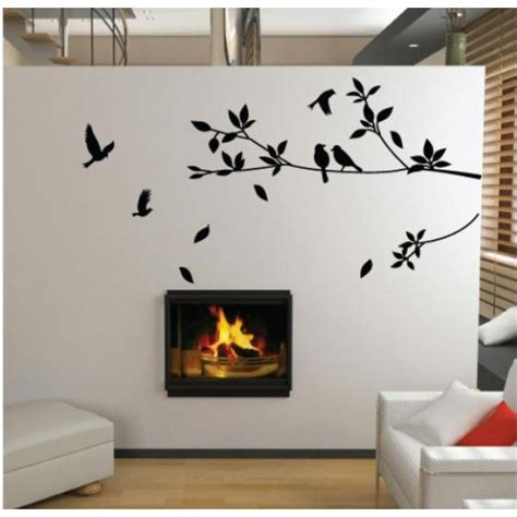 Wall Stickers Home Decor Promotion Birds And Tree Home Decor Floral Art Wall