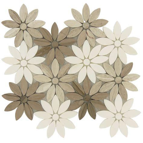 Brown Bathroom Colors Flower Cream Beige Stone Flower Tile Polished Bqt 673