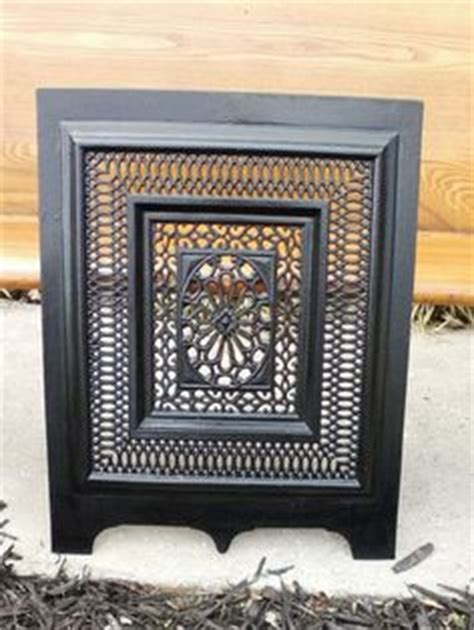 vintage ornate fireplace gate grill black cast iron