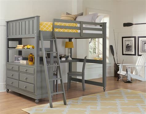 high loft bed with desk ne lake house high loft bed with bed grey
