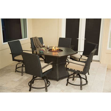 Firepit Dining Table Hanover Aspen Creek Bar Height Pit Dining Set Pit Patio Sets At Hayneedle