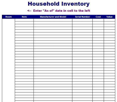 household goods inventory sheet pictures to pin on