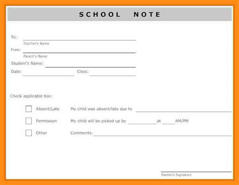 absent notes for school templates absent note for school template memo exle