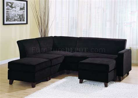 Black Sectional Sofa Black Microfiber Stylish Sectional Sofa W Wooden Legs