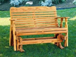 wood bench glider glacier rustic glider log furniture by amish meadows pics