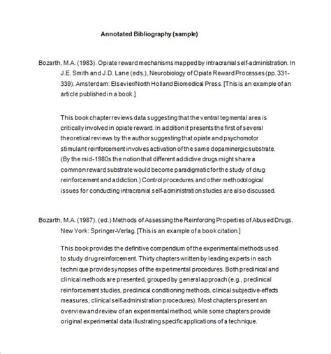 template for bibliography 9 annotated bibliography templates free word pdf