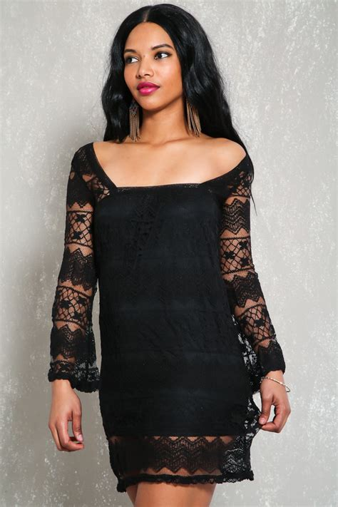Fashion Dress Lp 2 A Gd2587 black lace sheer sleeve bodycon dress