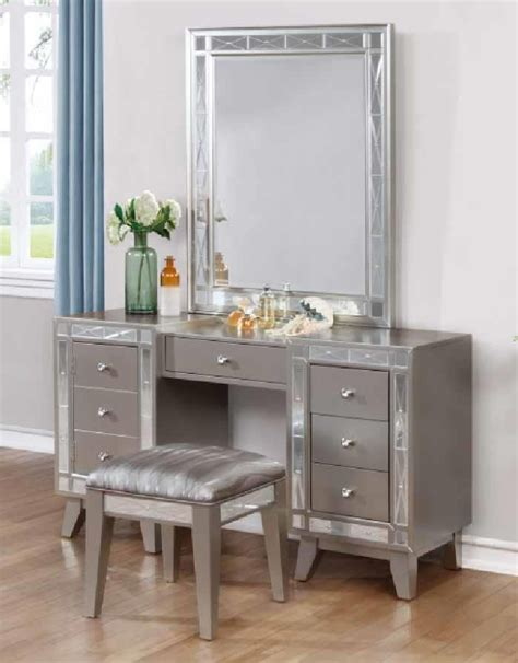 bedroom vanity dresser leighton collection vanity desk stool 204927 bedroom vanities price busters furniture