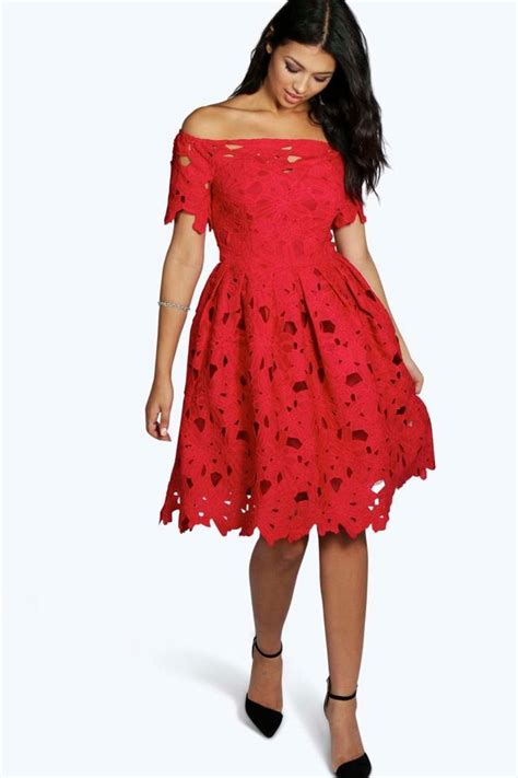 Cape Code Style House boutique lisa off shoulder lace skater dress boohoo