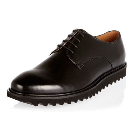 sole shoes lyst river island black leather cleated sole shoes in