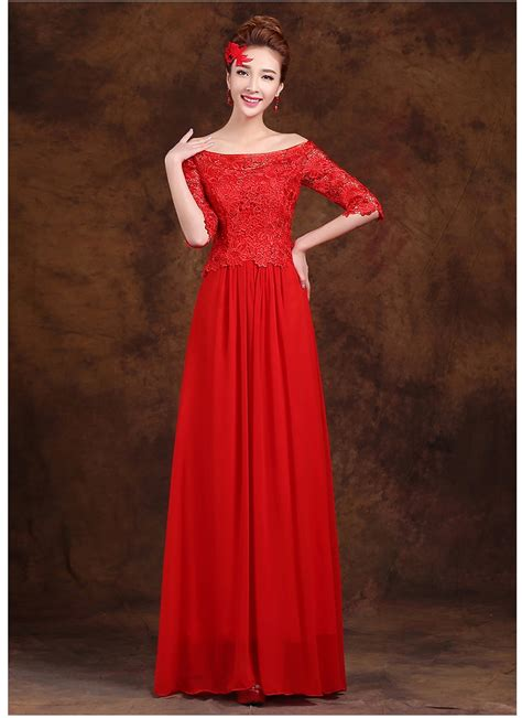 dressing beautifully for dinner dhl free shipping red color floor length adult bridesmaid