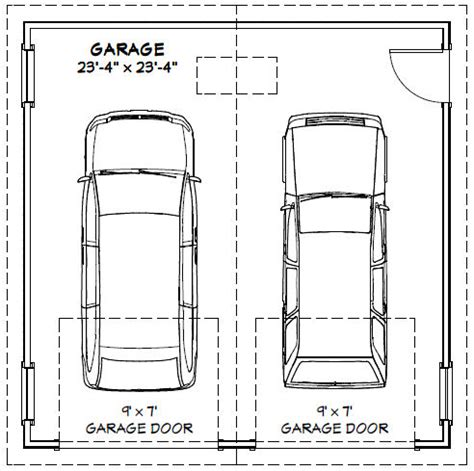 size of two car garage door house plans