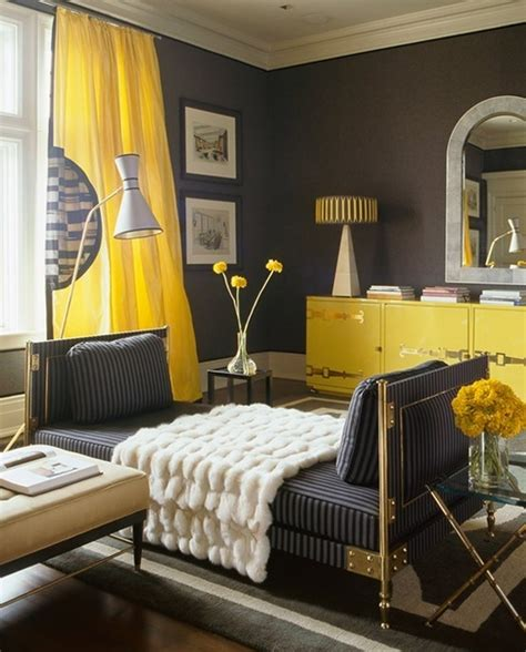 Living Room With Yellow Curtains Yellow And Gray Drapes Design Ideas