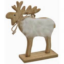 rentier dekoration chiccie holz elch mit fell weihnachten deko figur hirsch
