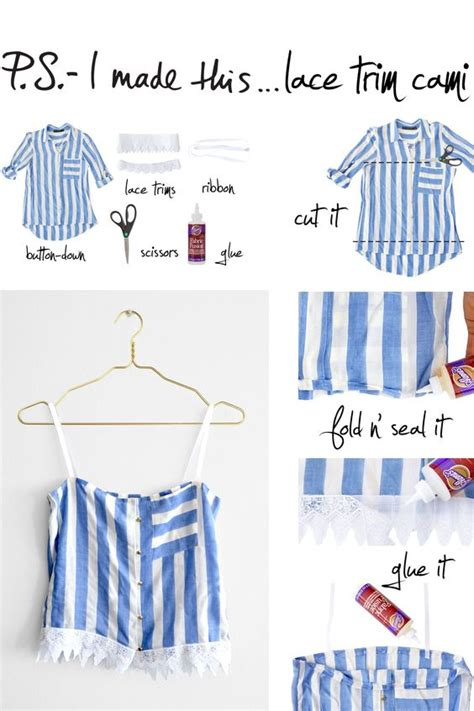 diy clothing projects no sew diy upcycle no sew lace trim cami diy tips
