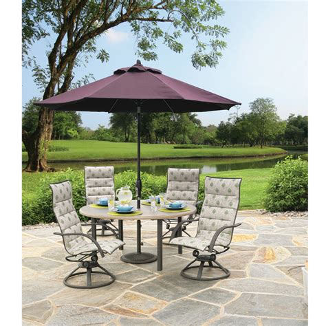 Patio Furniture With Umbrella Homecrest 11 Octagon Dining Height Umbrella Furniture
