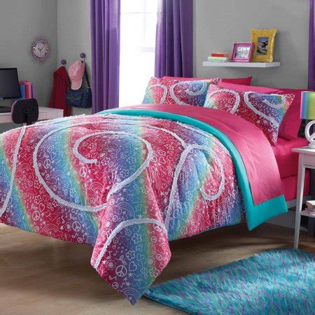 zone rainbow ruffle comforter  sham set walmartcom