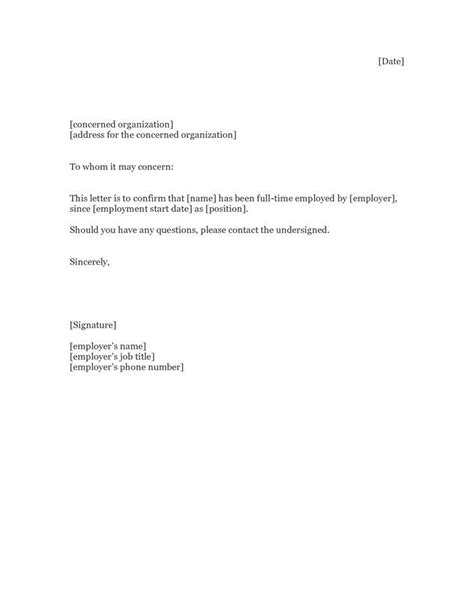 proof of employment letter proof of employment letter sle proof of employment 1550