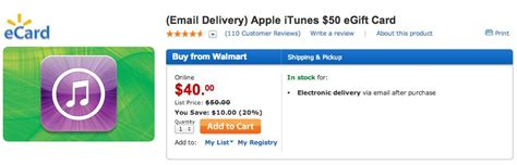 Itunes Gift Cards Email Instant - walmart selling 50 itunes gift cards for 40 with instant email delivery